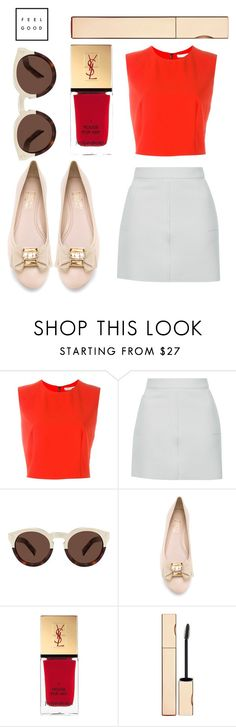 """""""Untitled #720"""" by poshandy ❤ liked on Polyvore featuring Alice + Olivia, Topshop, Illesteva, Salvatore Ferragamo, Yves Saint Laurent and Clarins"""