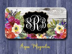 Tropical Watercolor Flowers - Weathered Wood - Personalized - License Plate…