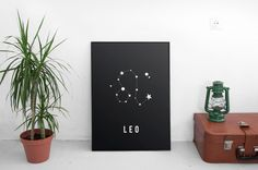 Leo Constellation Print, Astrological Sign, Astronomy Decor, Constellation Map, Leo Zodiac Print, Astrology Gifts, Astronomy Art