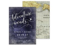Destination Wedding Invitation | Adventure Awaits | Printable DIY Invite, Affordable Wedding Invitation | Vintage World Map with Navy