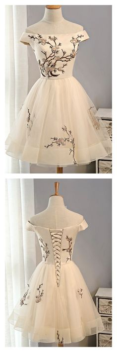 Cap Sleeves Homecoming Dress,Embroidery Homecoming Dresses,Tulle Homecoming Dress,Short Party Dresses,A Line Prom Dresses Dance Dresses, Cute Dresses, Beautiful Dresses, Prom Dresses, Beautiful Clothes, Short Homecoming Dresses, Freshman Homecoming Dresses, Champagne Homecoming Dresses, Homecoming Hair
