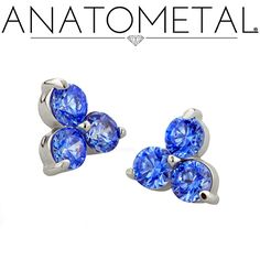 Threaded Trio Ends in solid 18k white gold with Arctic Blue gemstones