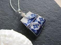 Sea Glass Jewelry Blue China Sea Pottery Pendant Sea Glass