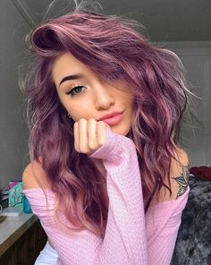 Coloredhairstyles ombre hair, hair dye, hair looks, fun hair color, hai Hair Dye Colors, Cool Hair Color, Hair Color Pink, Hair Color Ideas, Girl With Purple Hair, Pink Purple Hair, Purple Hair Dyes, Rainbow Hair Colors, Pink Hair Tips