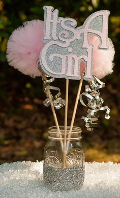 Its a Girl Baby Shower Decoration Centerpiece Pink and Silver Hospital Gift                                                                                                                                                                                 Más