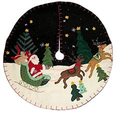 Handmade Felt Christmas Tree Skirt Santa Sleigh Reindeer 16 Wide * Continue to the product at the image link. (This is an affiliate link) Diy Christmas Tree Skirt, Christmas Tree Skirts Patterns, Tabletop Christmas Tree, Christmas Door Decorations, Felt Christmas, Christmas Crafts, Reindeer Christmas, Christmas Things, Xmas Tree