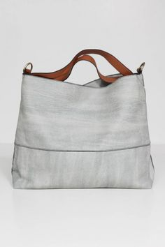 Gray and leather tote
