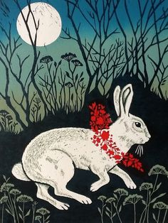 pagewoman: White Rabbit by Teresa Winchester Art And Illustration, Illustrations Posters, Linocut Prints, Art Prints, Block Prints, Lapin Art, White Rabbits, Rabbit Art, Bunny Art