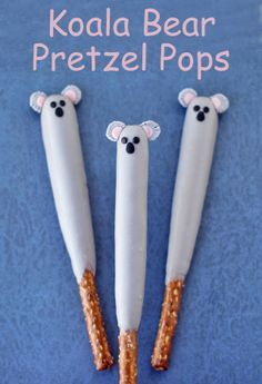 Your kids will love these cute Koala Pretzel Pops. Each chocolate dipped pretzel rod is easy to decorate using modeling chocolate to look like a sweet koala bear. Bear Birthday, 9th Birthday, 1st Birthday Parties, Birthday Cakes, Birthday Ideas, Baby Shower Parties, Baby Shower Themes, Baby Boy Shower, Shower Ideas