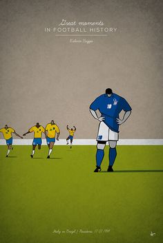 Great Moments in Football History Illustration Series - great moments in Football History Illustration Series Roberto Baggio italy braziil 1994 penalty - Football Is Life, Retro Football, Football Design, Football Art, World Football, Vintage Football, Roberto Baggio, Soccer Art, Soccer Poster