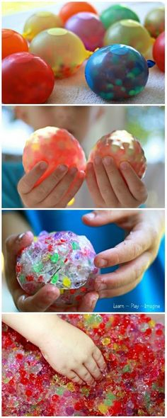 Add water beads to water balloons for the coolest sensory experience ever!  Try freezing them for sensory and gross motor games on a hot day.