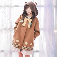 Bow Accent Biscuit Print Hooded Jacket