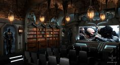 """For this months """"Theater of the Month"""", we bring you our newest concept, the Dark Knight Theater. Our goal was to fuse together the cozy elements of Wayne Manor, with the Art Deco styling of Gotham City."""