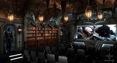 Dark Knight Home Theater. secret room behind the bookshelves.