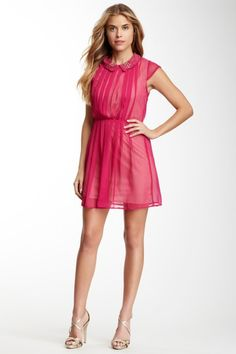 Pleated Peter Pan Collar Dress by Angie