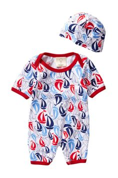 July Summer Sails Romper & Hat 2-Piece Set (Baby Boys) by Mad Sky & Mad Boy on @nordstrom_rack