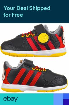 newest b6fe5 eeb46 adidas Disney Mickey Mouse Infant Boys Kids Trainers Black Red New and Boxed