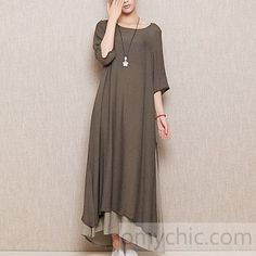 Gray plus size layered linen sundress cotton summer maxi dresses long casual traveling clothing Hijab Fashion, Boho Fashion, Fashion Dresses, Fashion Design, Simple Dresses, Casual Dresses, Linen Dresses, Maxi Dresses, Vetements Clothing