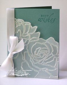 Julie's Stamping Spot -- Stampin' Up! Project Ideas Posted Daily: Manhattan Floral Wedding Card embossed vellum card stock and dazzling diamonds Wedding Cards Handmade, Greeting Cards Handmade, Wedding Shower Cards, Card Wedding, Wedding Photos, Wedding Anniversary Cards, Embossed Cards, Stamping Up Cards, Diy Décoration