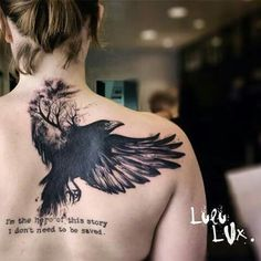 Crow graphic tattoo by Lulu Lux - France lux_tattoo Song Tattoos, Back Tattoos, Future Tattoos, New Tattoos, Body Art Tattoos, Lower Belly Tattoos, Tatoos, Tattoo Quotes, Phoenix Tattoos