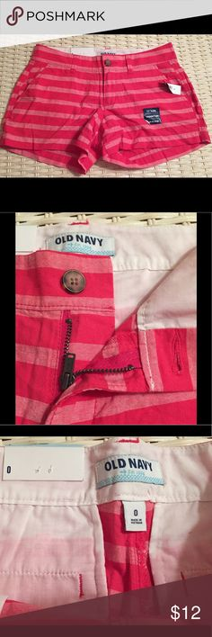 NWT Old Navy Pink Striped Shorts New with tag Old Navy pink striped shorts. Size 0. A bit wrinkled from being folded in a drawer. Smoke free home. Old Navy Shorts