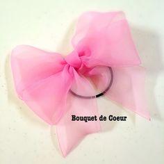 ハンドメイド♡ フェミニンシフォンリボンゴム♡ 全6色♡ピンク  http://s.ameblo.jp/bouquet-de-coeur/  Handmade ribbon hair accessory Pink colour