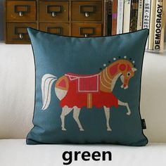 Chinese style colorful horse sofa cushions for home decoration retro animal throw pillow