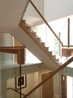 This open string Oak staircase looks elegant with the glass balustrade Glass Balustrade, Staircases, Joinery, Stairs, Elegant, Home Decor, Carving, Classy, Woodworking