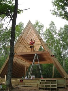 Tiny House Plans 489414684486659405 - Our A-Frame Cabin Source by thylene Tiny House Cabin, Cabin Homes, Log Homes, Small Log Cabin, Triangle House, A Frame House Plans, A Frame Floor Plans, Cabins And Cottages, Log Cabins
