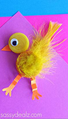 Plastic Bottle Cap Chick Craft for Kids - Sassy Dealz