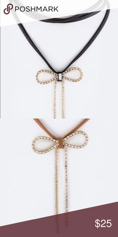 The Dolly-Crystal Bow Layer Choker Crystal Bow Layer Choker Features Avalable in Black and Brown Approximatley 12 inches +extension Lead and Nickel Compliant. No holds, trades, or pp. Thank you! faith and sparkle Jewelry Necklaces