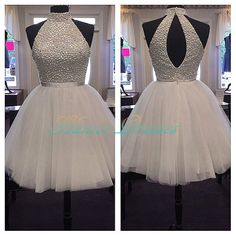 White High Neck Beads Prom Dresses Short Evening