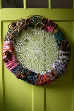 yarn and pinecones #wreaths