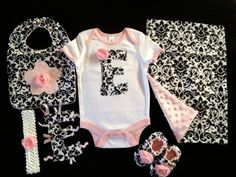 Personalized Baby Gift Set 6 pc Onesie, Bib, headband, shoes, burp cloth, taggie letter in beautiful Damask and baby pink minky dot fabric