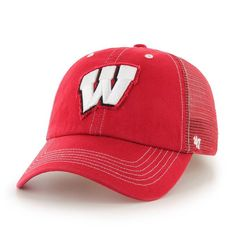 94f991eb39d Wisconsin Badgers  47 Brand Flexbone Closer Flex Hat - Red