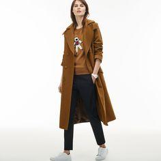 Women's Detachable Hood Gabardine Wraparound Trench Coat   LACOSTE