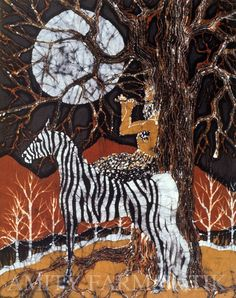 Pan Calls the Moon from Zebra  batik  print from by amityfarmbatik, $30.00