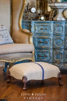 Antique French Style Foot Stool European Grain by edithandevelyn. Etsy $145.