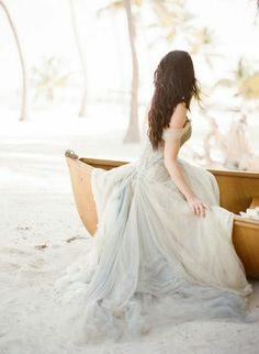 rowboat, bridal gown, pale blue, beach, coconuts, soft, romantic