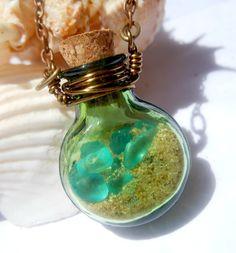Beach in a bottle, sand & seaglass ♥ Find beach bottles, mini glass bottles, beach glass. charms, pearls & chains at www.eCrafty.com #ecrafty #beachbottlenecklace #diycrafts