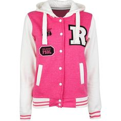 Pink College Sweat Jacket ($15) ❤ liked on Polyvore featuring outerwear, jackets, pink, shirts, tops, studded jacket, pink studded jacket, pocket jacket, fleece lined hooded jacket and pink jacket