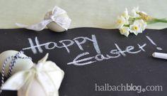 Ostergrüße I Dekoideen Ostern in Schwarz-Weiß, Grün und Natur I Halbach Tafelstoff I chalkboard I Tafel-Look I Bänder I Ribbons I Easter I Frühling I DIY I selber machen