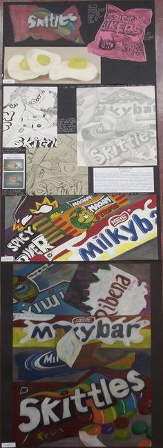 national 5 expressive folio, still life - junk food theme Gcse Art Sketchbook, Sketchbooks, National 4, Sweet Wrappers, Food Project, Still Life Drawing, Year 9, Expressive Art, A Level Art
