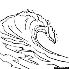 Sea Waves Coloring Pages – Coloring for every day Line Drawing, Painting & Drawing, Water Drawing, Ocean Wave Drawing, Waves Sketch, Art Sketches, Art Drawings, Wave Stencil, Sea Waves