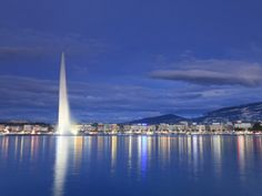 Switzerland, Geneva, Lake Geneva / Lac Leman and Jet D'Eau Fountain Photographic Print by Michele Falzone at AllPosters.com