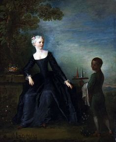 Nicolas Lancret's portrait of a lady with her enslaved African boy fashionably dressed as a courtly page. 1730s.