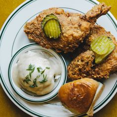 BonAppetit- Buttermilk Fried Chicken-The egg-enriched buttermilk mixture makes for an especially crunchy and craggy coating. This recipe is from Buxton Hall, one of the Hot America's Best New Restaurants Buttermilk Fried Chicken, Buttermilk Recipes, Fried Chicken Recipes, Chicken Meals, Farm Chicken, Chicken Feed, Chicken Sandwich, Food Styling, Bon Appetit