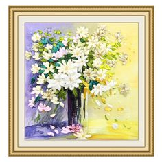 Egoshop Silk Ribbon Embroidery Kit Fresh Flower Painting DIY Wall Decor Stamp Silk Ribbon Embroidery Kit With English Instruction (No Frame) -- See this great item.