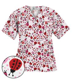 UA Lady Bug Oasis White V-Neck Print Scrub Top Perfect for those working in pediatrics, this scrub top features a v-neck styling and design with your comfort as priority. Red Scrubs, Cute Scrubs, White Scrub Tops, Uniform Advantage, Scrubs Uniform, White V Necks, Ladybug, Floral Tops, Ua