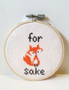 For Fox Sake! Stitch, Needlepoint, Home Decor, Geekery, Gifts Under 30, Subversive, Unisex, Unique, Funny Cross Stitch